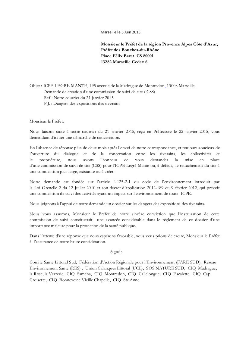 Demande CSS - Lettre au Préfet