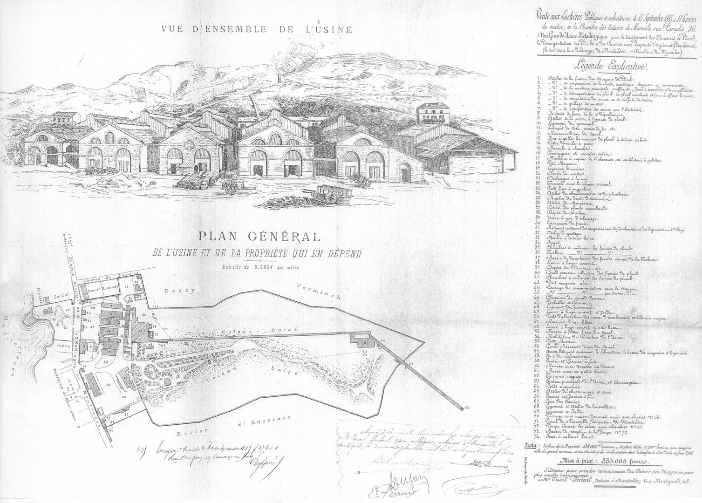 Plans historiques : vue d'ensemble de l'usine et plan général