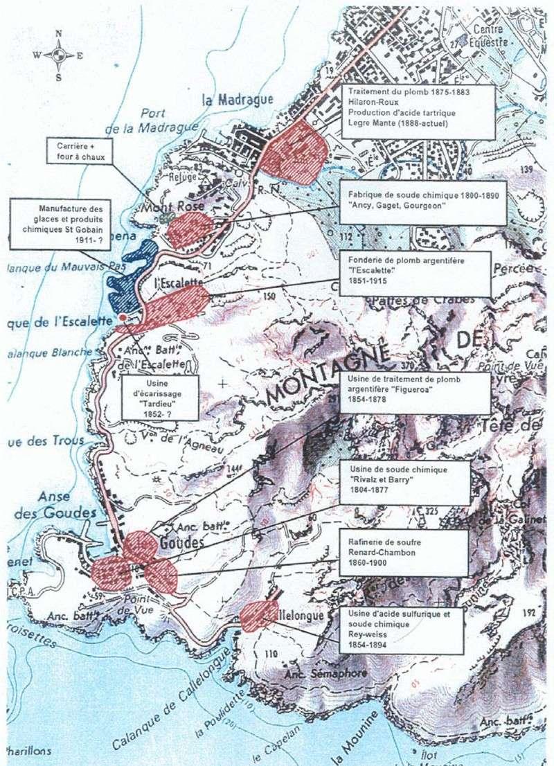 Carte des sites pollués de la Madrague aux Goudes