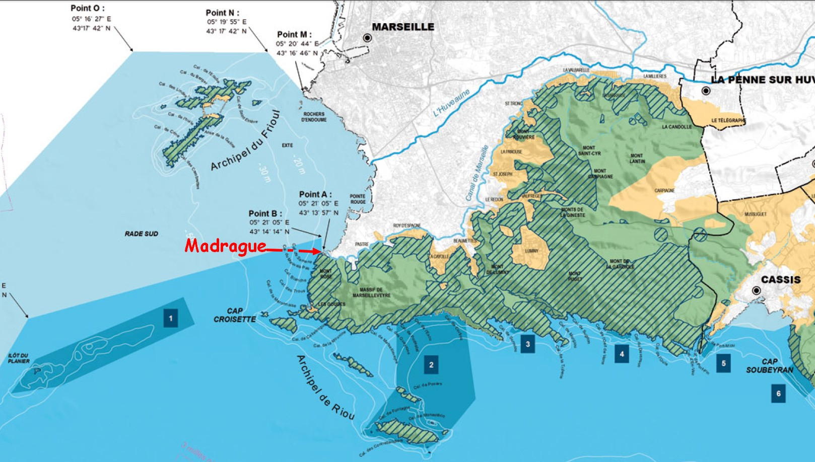 La Madrague et le site sur la carte du Parc national des Calanques